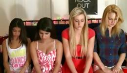 Four amazing and lewd babes waiting for their turn to be repeatedly fucked