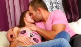 Strong guy invited this young brunette hottie for a great fucking in his home