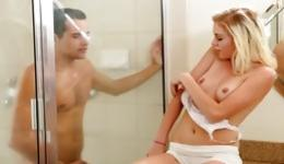 Hot skinny blonde in the shower getting on her knees and fucking hard
