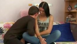 Vicious heterosexual young couple is having rough wild sex