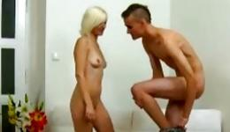 Light haired kinky bitch is giving the head job to dude massive dong