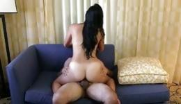 Bearded bastard drills this randy goddess's honey cave on the blue couch