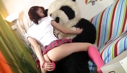 Knockout is jumping up and down on the panda's fuckpole