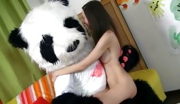 Extremely beautiful bombshell sucks and licks perfect panda's joystick