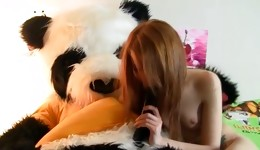 Lovesome and libidinous knockout rides panda's hard shaft