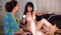 Look at these beautiful ladies who use large vibrator towards inexperienced guy