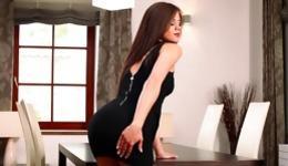 This brunette bombshell is pleasuring herself her adorable flexible body