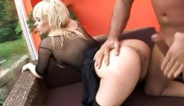 Hot blonde is wearing slutty stuff getting pounded and is swallowing
