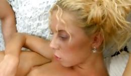 Hot blonde is blowing a tasty boner and is riding a boner hard