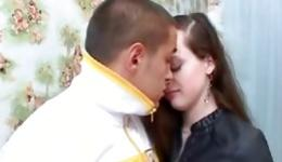 Kinky brunette is swallowing a long dick with filthy pleasure deep